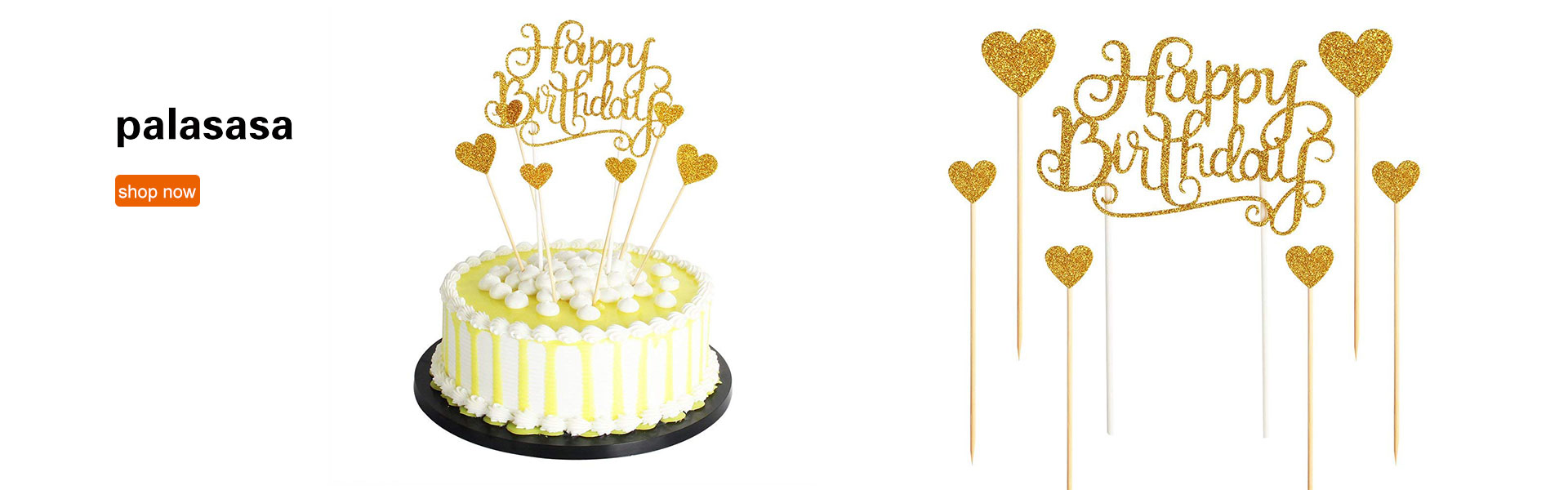 PALASASA Happy Birthday Cake Toppers Glod Glitter Letters Happy Birthday and Love Star,Party Decor Decorations,Set of 7