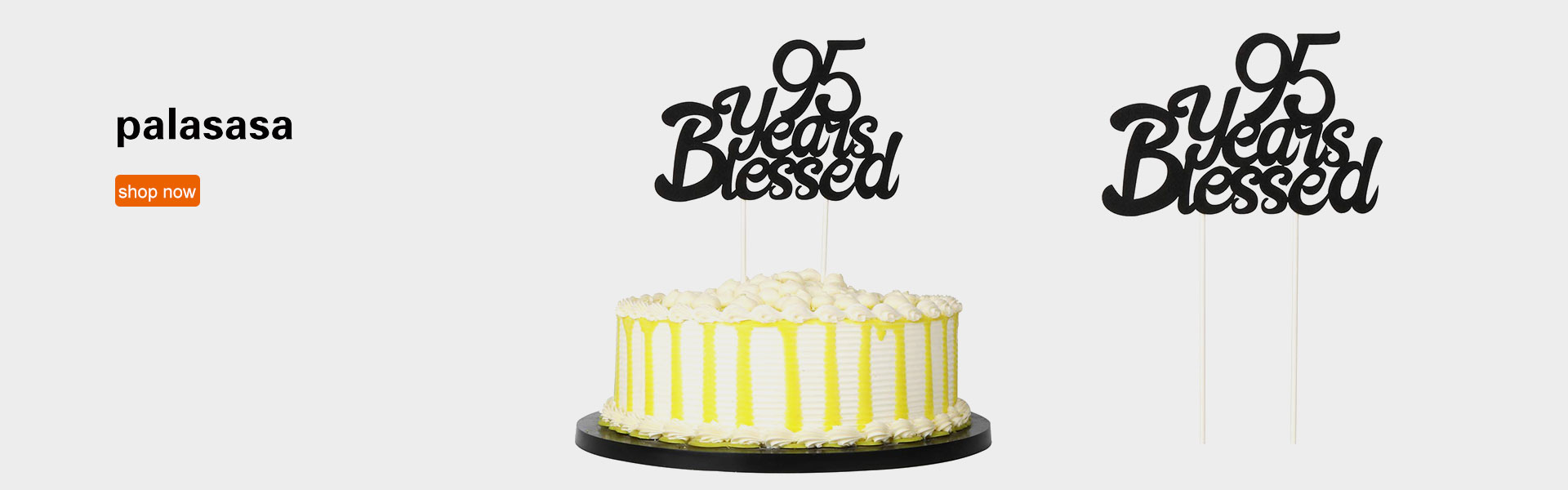 PALASASA Black Single Sided Glitter 95 Years Blessed Cake Topper - Happy 95th Birthday - Wedding Anniversary Party Decorations (95th)