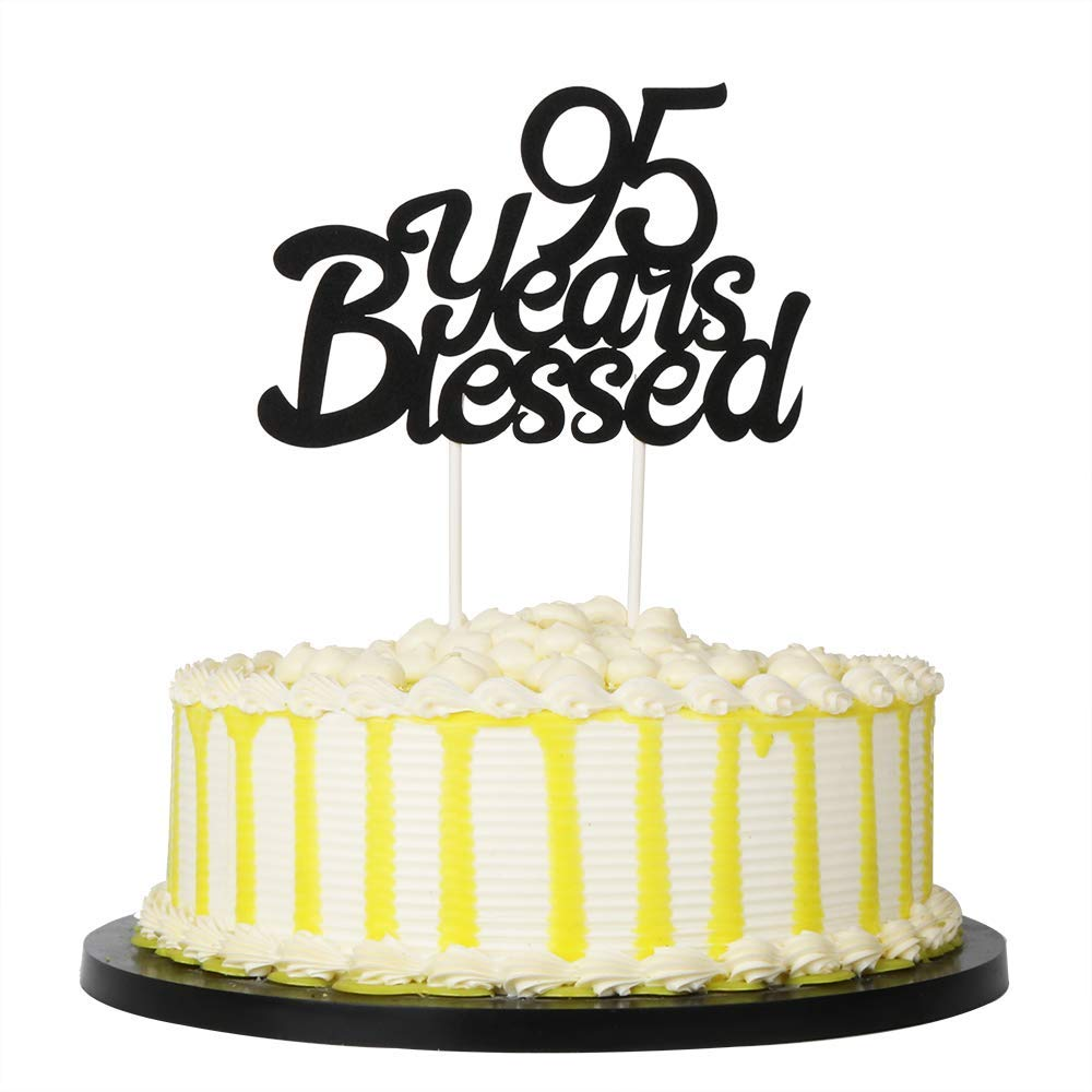 PALASASA Black Single Sided Glitter 95 Years Blessed Cake Topper