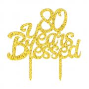 PALASASA Gold Glitter Acrylic 80 Years Blessed Cake Topper - Happy 80th Birthday - Wedding Anniversary Party Decorations